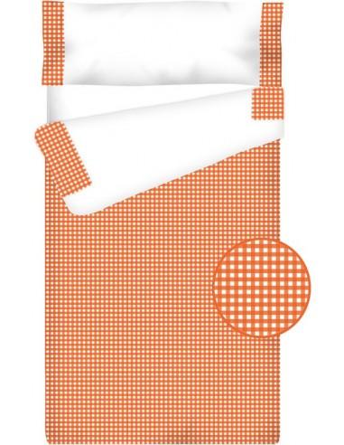 """""""Prêt à dormir"""" Zippé et Extensible Coton – VICHY CARRÉ orange"""
