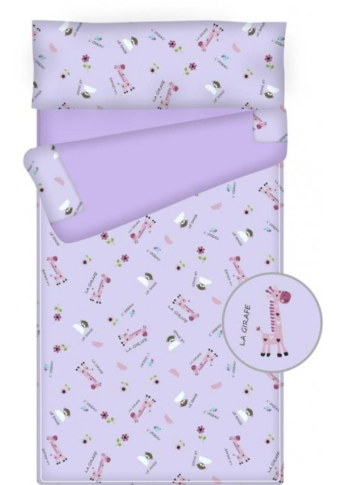 Prêt à dormir enfant zippé - GIRAFFE mauve