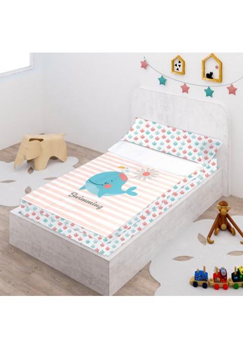 Prêt à Dormir Zippé et Extensible Coton DESSIN PLACÉ - WHALE