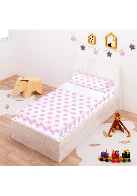 Prêt à Dormir Zippé et Extensible Coton ÉTOILES rose - fond blanc