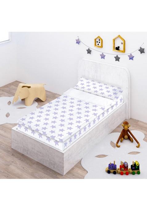 Prêt à Dormir Zippé et Extensible Coton ÉTOILES lilas - fond blanc