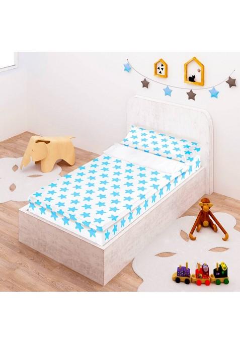 Prêt à Dormir Zippé et Extensible Coton ÉTOILES bleu - fond blanc