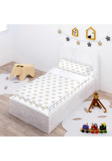 Prêt à Dormir Zippé et Extensible Coton ÉTOILES sable - fond blanc