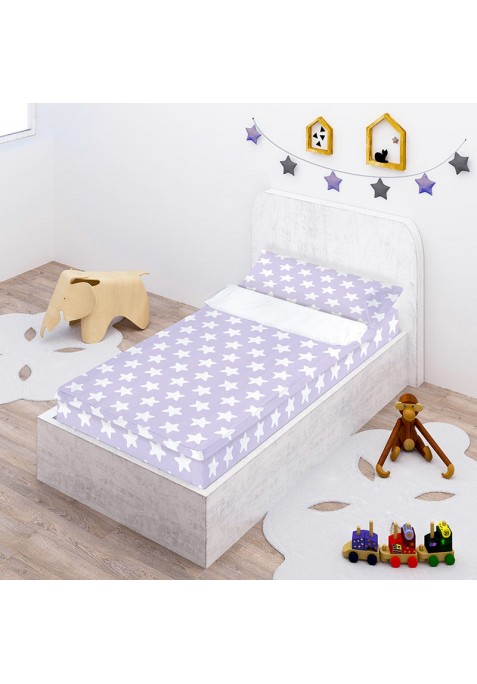Prêt à Dormir Zippé et Extensible Coton ÉTOILES blanc - fond lilas
