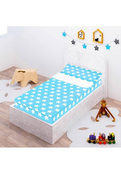 Prêt à Dormir Zippé et Extensible Coton ÉTOILES blanc - fond bleu