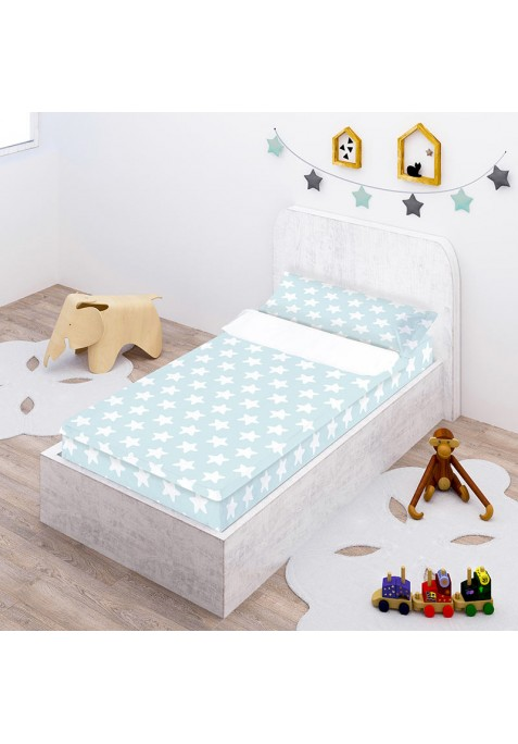 Prêt à Dormir Zippé et Extensible Coton ESTRELLAS blanc - fond émeraude