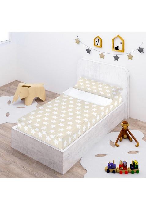 Prêt à Dormir Zippé et Extensible Coton ÉTOILES blanc - fond sable