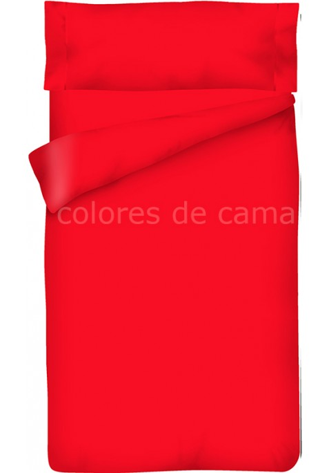 Parure de Couette Rouge Unie - Housse de Couette + Taie d'Oreiller